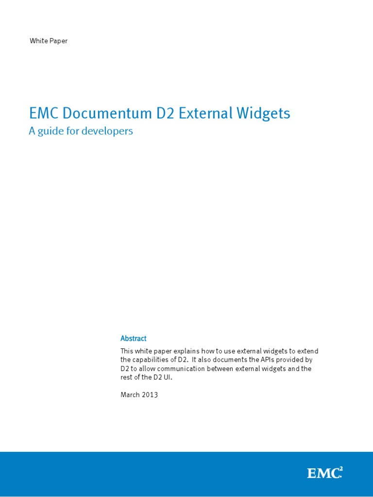 Docu46538 White Paper EMC Documentum D2 External Widgets