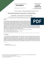 Numerical Simulation of Porosity for Al Based Alloys