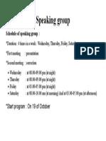 Speaking Group Schedule