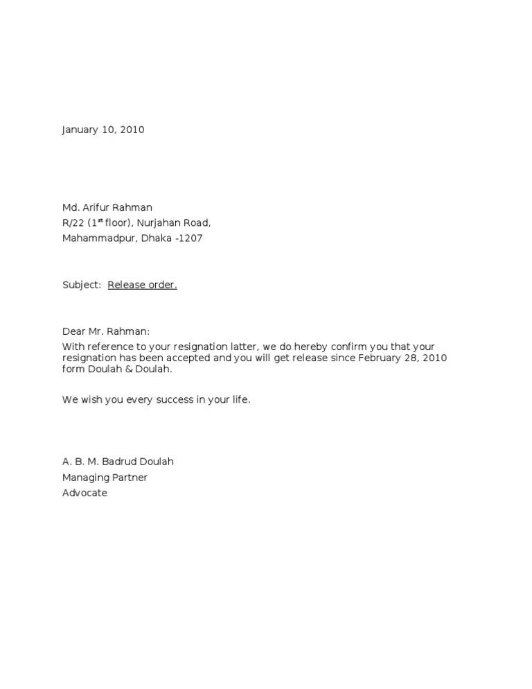 Format of relieving letter job release letter yadclub Gallery