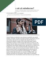 Gayatri Spivak Podemos Oir Al Subalterno Clarin