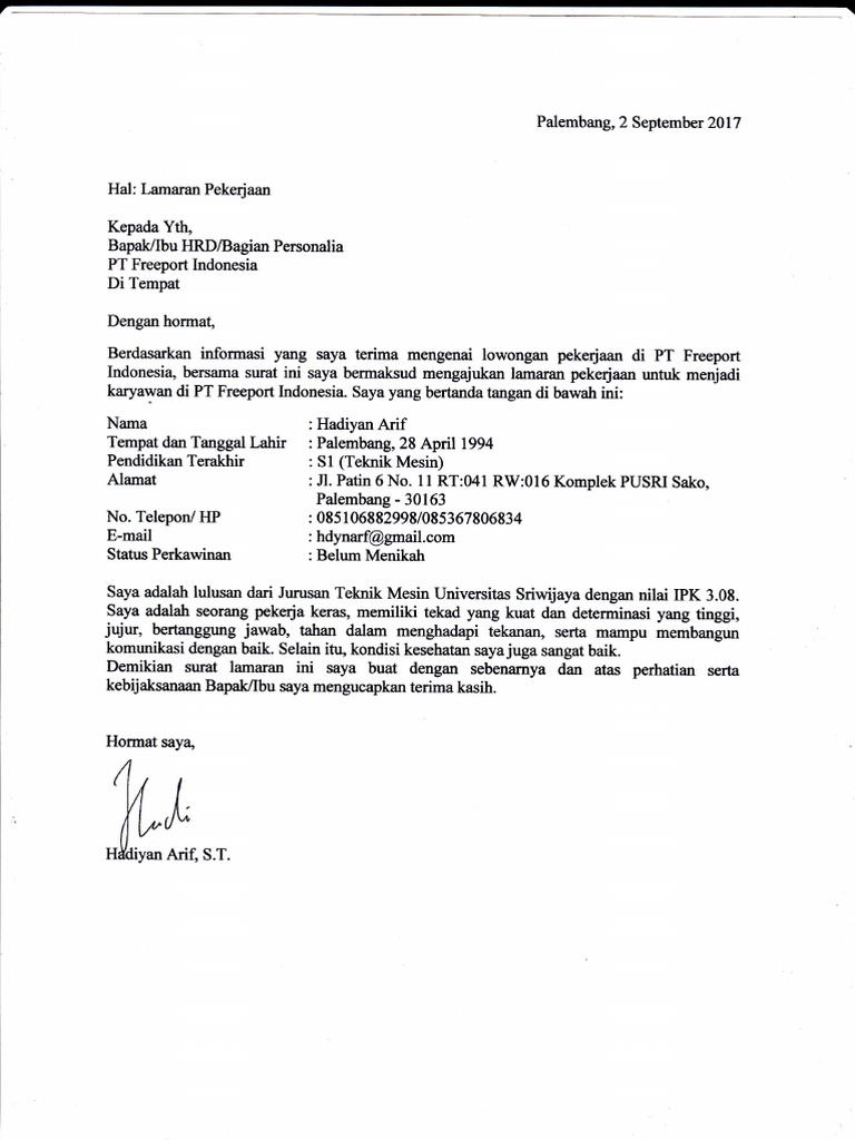 Surat Lamaran Kerja Pt Freeport Indonesia