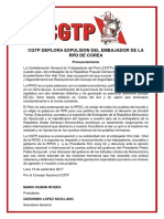 CGTP deplora expulsión del Embajador de la RPD de Corea