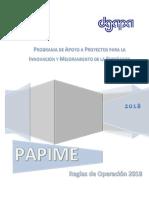 Proyectos PAPIME Reglas de operación 2018