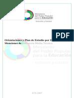 Orientaciones y Plan de Estudio Por Especialidad y Menciones de Educación Media Técnica