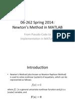 Newton's Method MATLAB Implementation