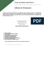 Certificado Treinamento Montador de Andaimes Eduardo