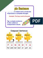 simple and compound sentences notebook handout