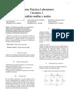 CIRCUITOS I PRACTICA Analisis de Nodos y Mallas Lab