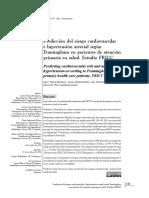 Predicción del riesgo cardiovascular e hipertensión arterial según Framingham en pacientes de atención primaria en salud. Estudio FRICC