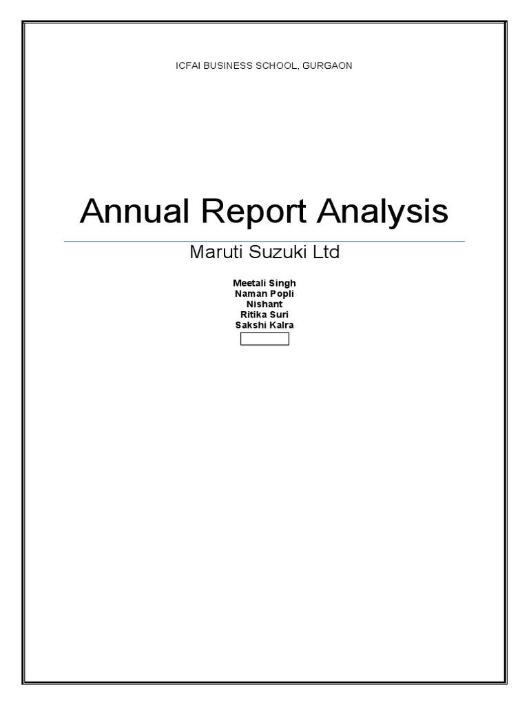 Annual Report Analysis Maruti Suzuki Ltd 2 1 – Annual Report Analysis Sample