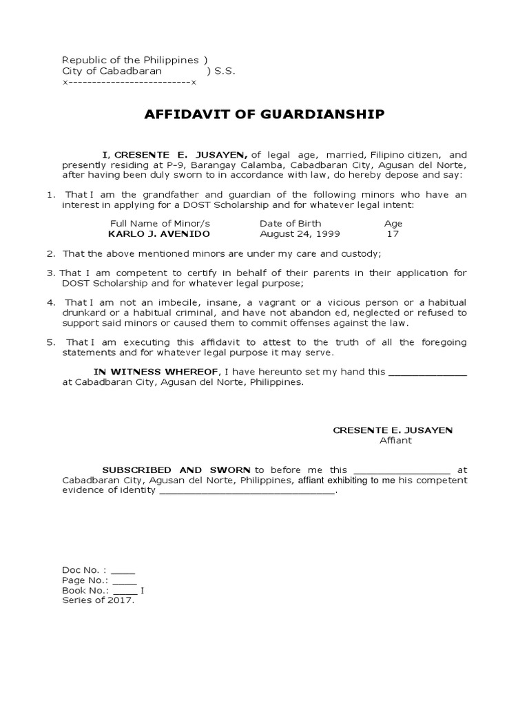 Affidavit Of Guardianship Affidavit Legal Guardian