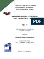 Análisis de Modelos Petrofísicos Para Formaciones Clásticas
