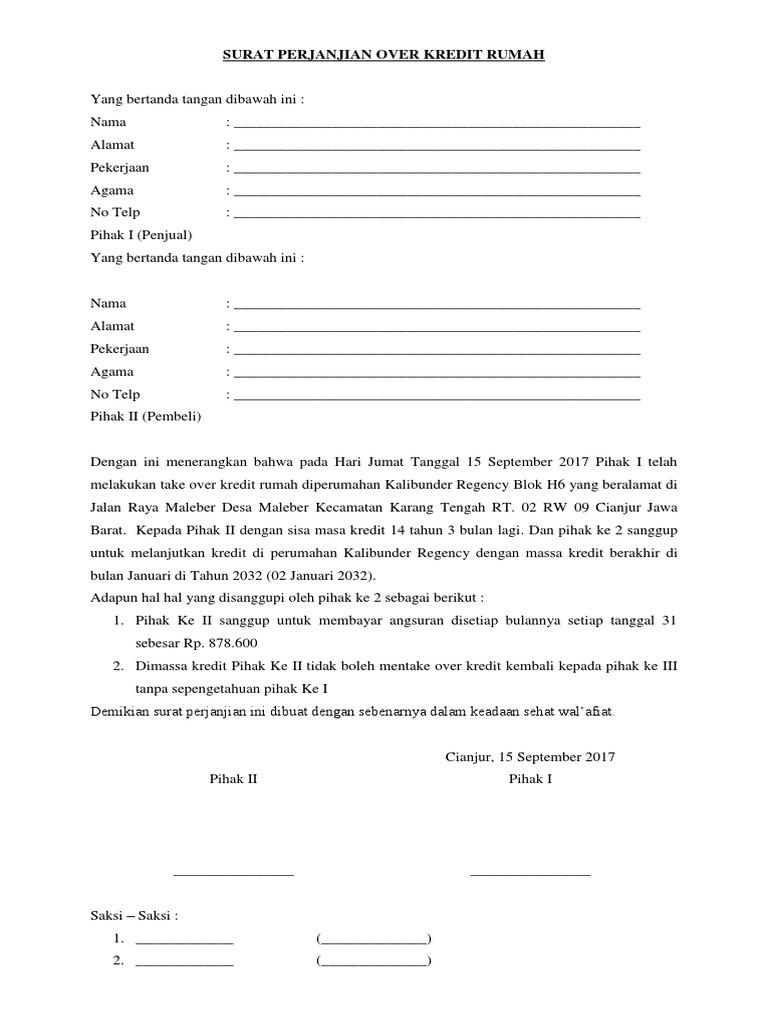 Contoh Surat Over Kredit Motor Informasi Seputar Dunia