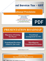 GST Transitional provision - Sec 139, 140, 141, and 142
