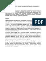 Historia, Desarrollo y Estado Actual de La Ingeniería Mecánica.