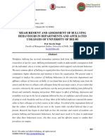 Measurement and Assessment of Bullying Behaviours in Departments and Affiliated Colleges of University of Delhi