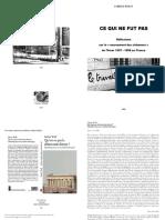 Ce Qui Ne Fut Pas - Réflexions Sur Le Mouvement Des Chômeurs 1997-1998 - Fabrice Wolff (Livret)