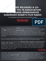 HindwareReleases a Co-Branded TVC in Association WithBrand Ambassador Shahrukh KhanGÇÖs Film Raees