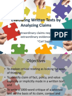 L2 Evaluating Written Texts by Analyzing Claims