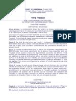 DECRET  N° 2003-793 du 15 juillet 2003Fixant la procédure d'octroi des autorisations de prélèvem