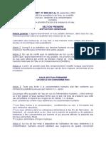 DECRET  N° 2003-941 du 09 septembre 2003