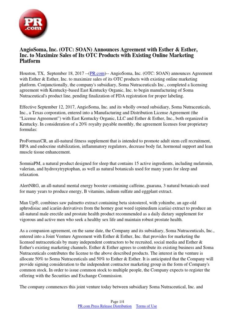 Angiosoma Inc Otc Soan Announces Agreement With Esther Esther