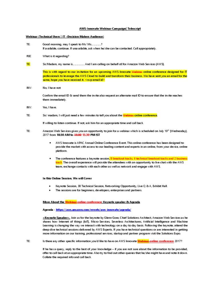 AWS-Innovate Webinar Campaign - Tele Script_MRM | Amazon Web