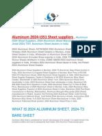 Aluminum 2024 t351 Sheet Suppliers