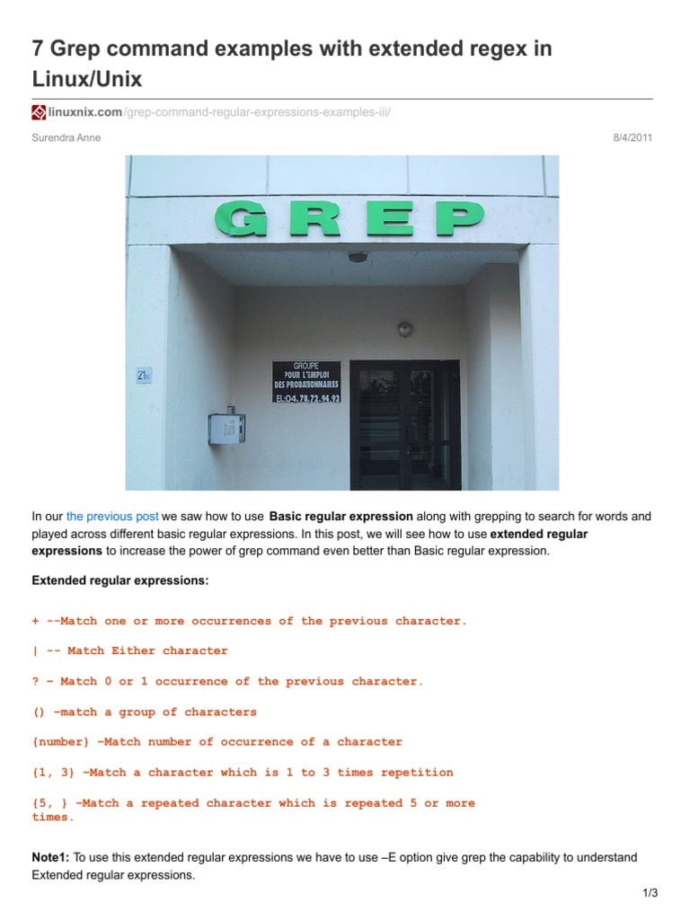 7 Grep Command Examples With Extended Regex In Linuxunix Regular