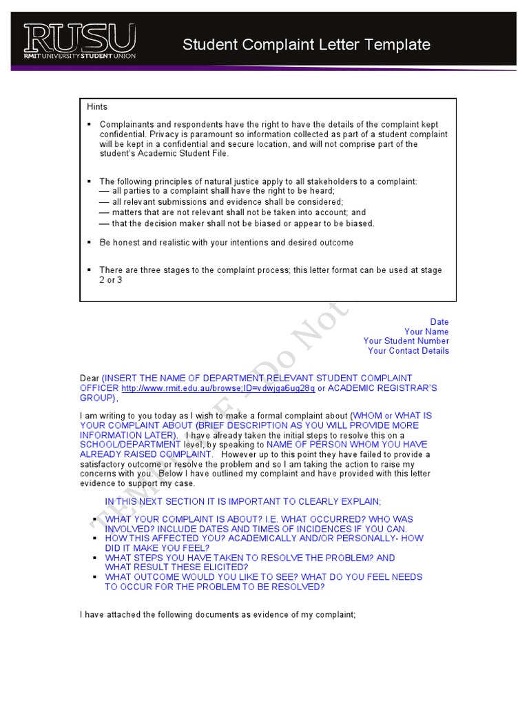 complaints letter format