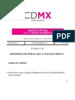 Reglamento de La Ley de Movilidad de La CDMX