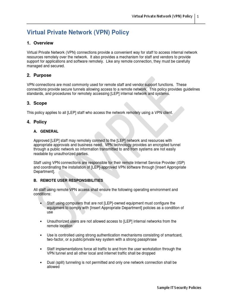 LEP Virtual Private Network (VPN) Policy | Virtual Private Network