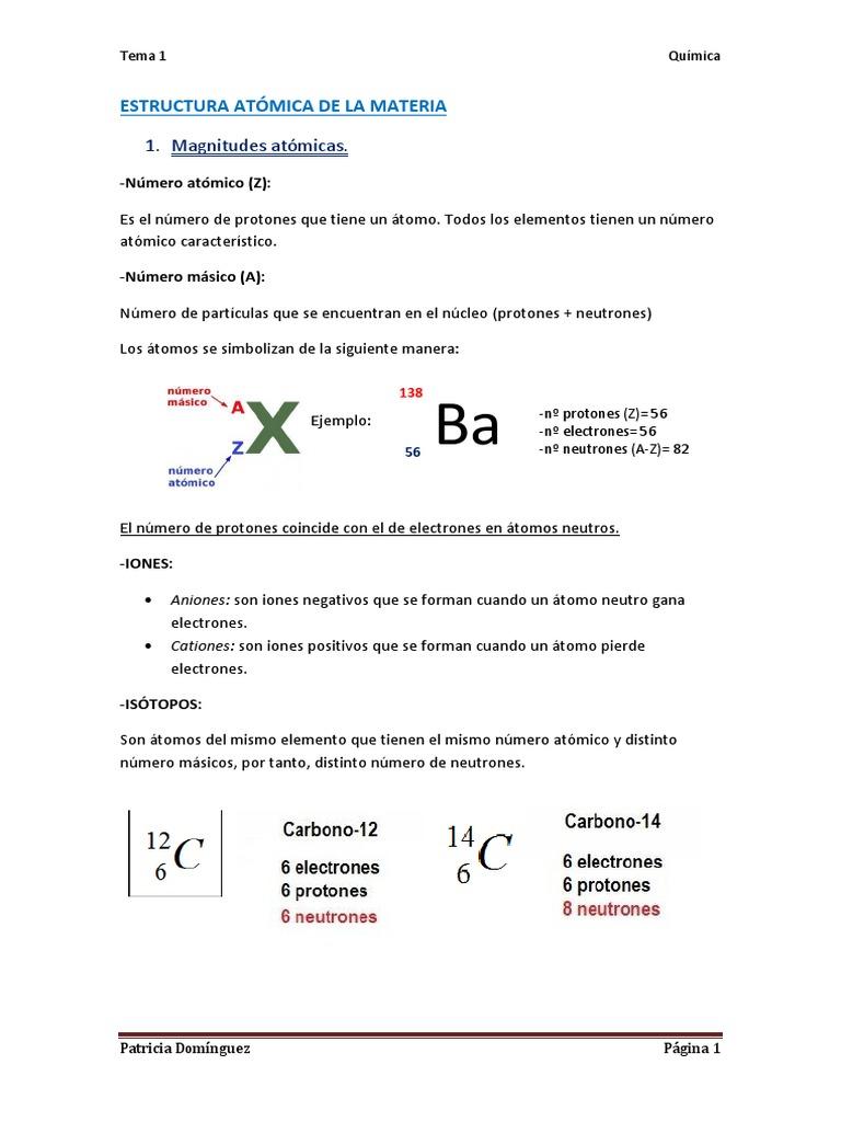 Tema 1 Estructura Atómica de La Materia
