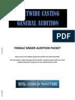 General Audition Packet Female Singer