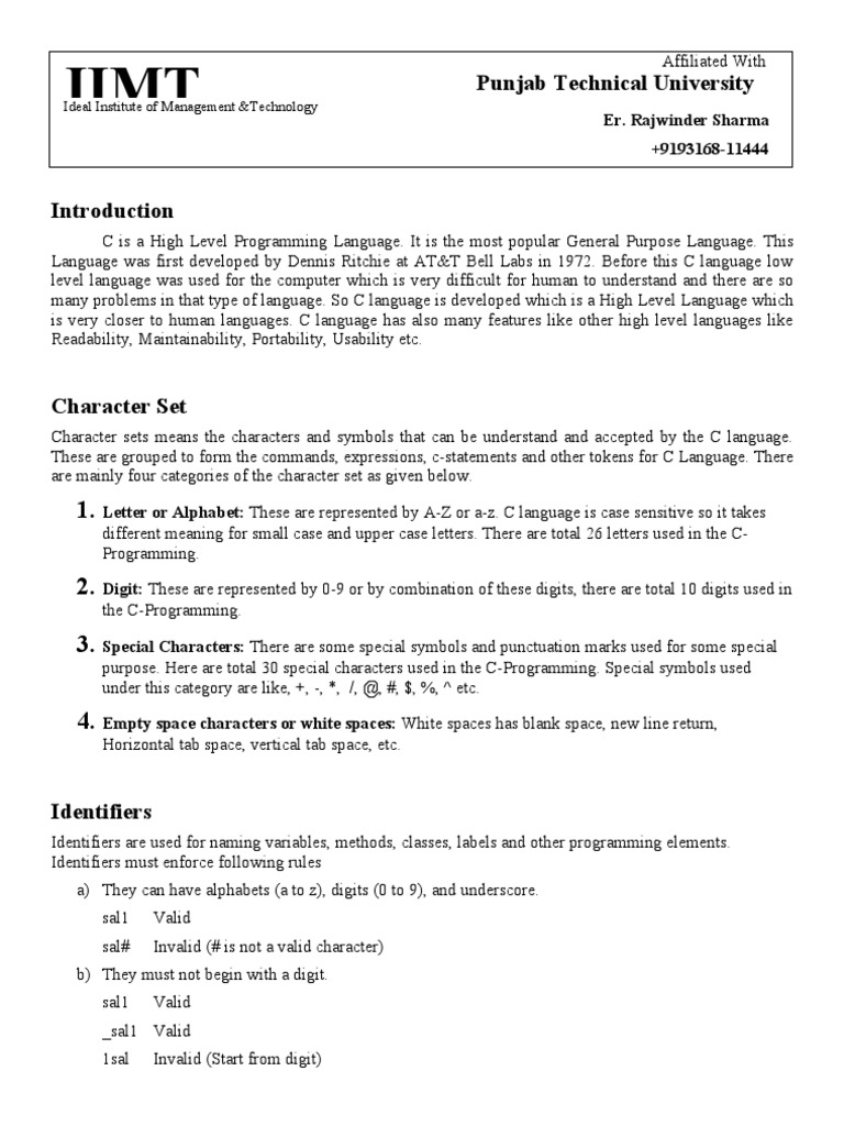 Complete C Programming Notes According To Syllbus Data Type