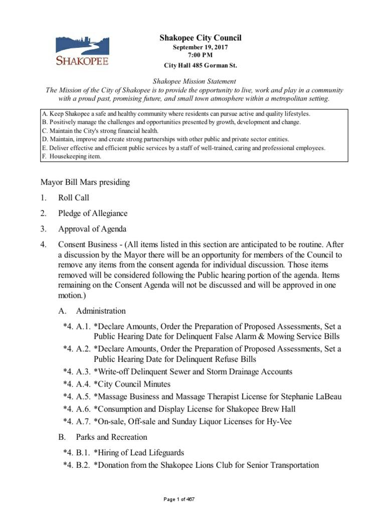 9/19/17 Shakopee City Council Meeting | Fee | Taxes