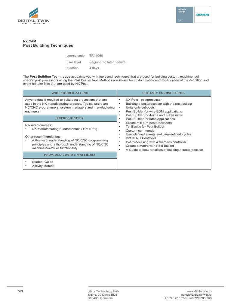 Training NX CAM TR11060 Post Building Techniques | Numerical Control
