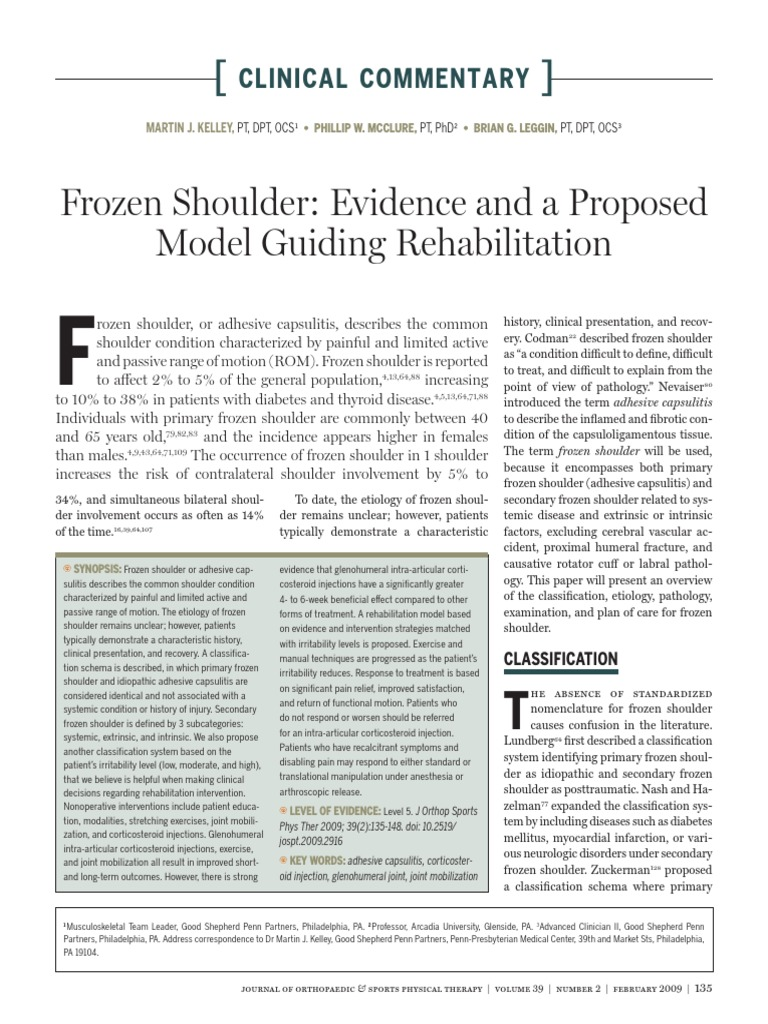 Frozen Shoulder Evidence and a Proposed Model Guiding
