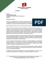 Carta Senador Serpa a Senadora Viviane Morales