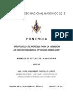 Ponencia No_ 2 Protocolo de Ingreso Para La Admision de Nuevos Miembros en Logias Simbolicas