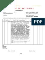 Planilla de Requerimiento de Materiales Para Mantenimiento (Ejemplo)