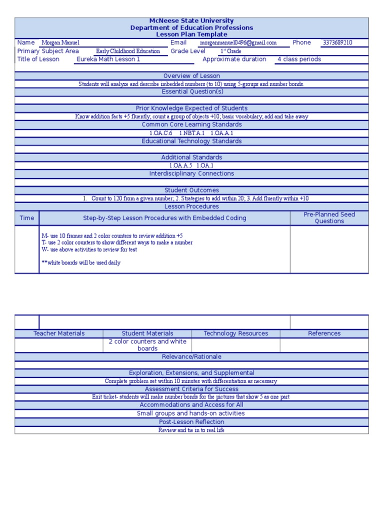 Lesson Plan Template Common Core State Standards Initiative - One subject lesson plan template