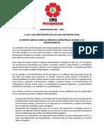 EL FRENTE AMPLIO COMO ALTERNATIVA ESTRATÉGICA RUMBO A SU RELANZAMIENTO - COMUNICADO 001