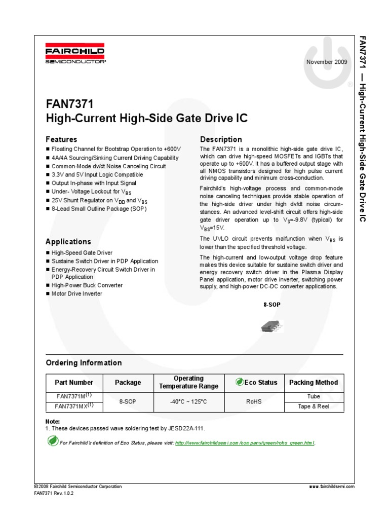 Fan7371 High Current Side Driverpdf Field Effect Transistor And A Latching Circuit That Controls The Gate Of Mosfet