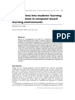 Investigations Into Students' Learning of Applications in Computer - Based Learning Environments