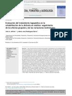 Evaluación Del Tratamiento Logopédico en La Rehabilitación de La Disfonía en Adultos Seguimiento de Los Efectos Grupales y de Las Variaciones Individuales