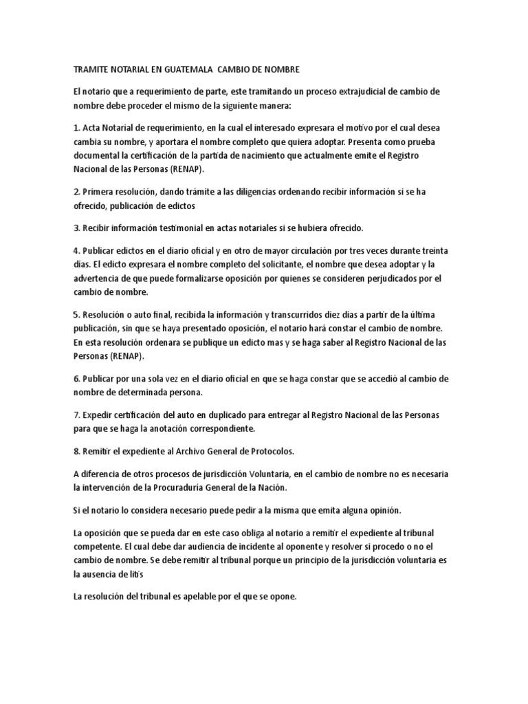 Tramite Notarial en Guatemala Cambio de Nombre