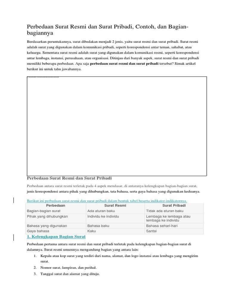 Perbedaan Surat Resmi Dan Surat Pribadi