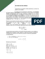 Ecuaciones de Primer Grado en Una Variable
